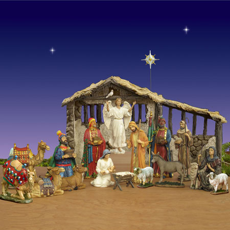 Real Life Nativity Set with Stable