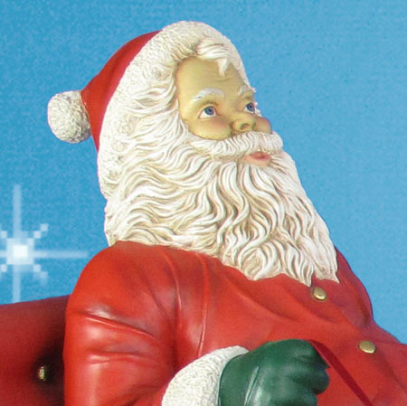 close up for detail on sitting santa