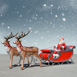 Sant's Sleigh and two Reindeer