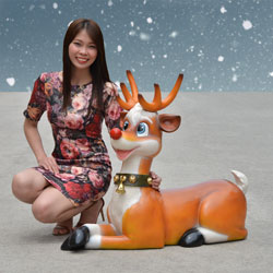 Funny Reindeer with Santa Hat